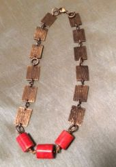 antique brass + Red coral necklace